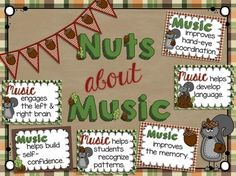 NUTS ABOUT MUSIC: BENEFITS OF MUSIC BULLETIN BOARD SET - TeachersPayTeachers.com