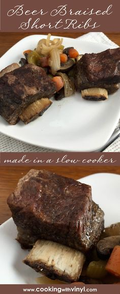 Making these beer-braised short ribs in a slow cooker means you'll come home to fall-off-the-bone meat after a hard day's work. Get the recipe at http://www.cookingwithvinyl.com/beer-braised-short-ribs-in-a-slow-cooker/