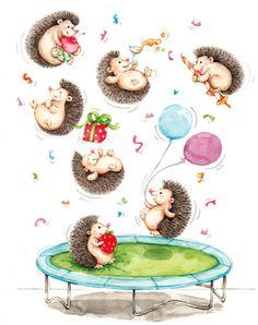 Happy birthday to You Hedgehog Art, Folk Art Flowers, Flower Art, Scrapbooking, Diy Scrapbook, Happy Birthday 1, Hedgehog Birthday, Birthday Painting, Doodle