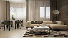 Wohnzimmer im Urban Style - dunkles Holz und rote Ziegel   Wohnung ...