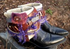 Boho boots OOAK cowboy boots Artsy boots fun by ThePaintedPalomino, $135.00