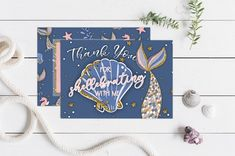 Thank You for Shellebrating! These are great to send to your guests to let them know you were happy they came to your Mermaid Bash. -------------------- ORDER TODAY -------------------- Thank your friends and family for coming to your birthday party! This thank you card can be used for any event