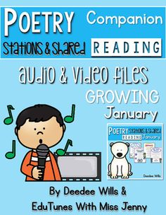 Poetry Music and video for JanuaryI have teamed up with Miss Jenny and Edutunes to put my monthly poetry stations to music. This unit contains 4 songs:MP3 track for each song with vocalsMP3 track for each song karaoke versionLyrics in color and black and whiteTHE MUSIC VIDEOS FOR JANUARY WILL BE ADDED BY DEC 15, 2016Save Money by purchasing the BUNDLE!Poetry Music The Growing BundleIf you need Poetry Journal Covers you can find a FREE download by clicking:Poetry Journal…