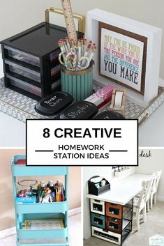 Check out these 8 AWESOME creative DIY homework station ideas to take your study game to a whole new level at college or in high school. From organization to helpful quotes these are designed to help you get into the rhythm to master homework and your exams.