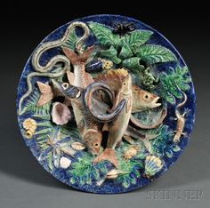 Victor Barbizet Palissy Barbotine Wall Plaque