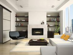 Interesting Direct Vent Fireplace For Your Family Room Decor Ideas: Modern Direct Vent Fireplace Design With Dark Lounge Chairs And White Shag Rug For Modern Family Room Design