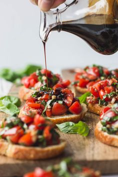 The perfect appetizer! Add high-quality balsamic vinegar to ripe tomatoes, garlic, shallot, fresh basil, and top onto crostini for bruschetta like you've never had before. Bruschetta Recipe Balsamic, Bruchetta Recipe, Crostini Recipe, Balsamic Vinegar Recipes, Quick And Easy Appetizers, Tomato Appetizers, Summer Appetizer Recipes, Appetizer Ideas, Recipes Dinner