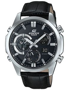 Casio Edifice Analog-Digital World Time Thermometer Watch - Black Leather Strap
