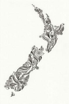 New Zealand Patterned Art tattoo idea Kunst Tattoos, Tattoos Skull, New Tattoos, Tatoos, Tattoo Drawings, New Zealand Tattoo, New Zealand Art, Maori Symbols, Tattoo Symbols