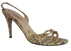 DOLCE & GABBANA Womens Shoes Snakeskin Beige Size 40 US 10 #DolceGabbana #Slingbacks