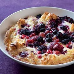 A recipe for croissant bread-and-butter pudding with mixed berries by Hannah Lewry. Croissant Bread, Almond Croissant, Croissant Recipe, Delicious Desserts, Dessert Recipes, Yummy Food, Breakfast Recipes, Tasty, Summer Pudding