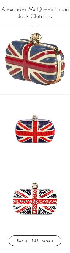 """Alexander McQueen Union Jack Clutches"" by leanne-mcclean ❤ liked on Polyvore featuring bags, handbags, clutches, bolsas, purses, accessories, skull purse, handbags clutches, clear clutches and leather handbags"