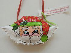 Hand-Painted Crab Shell Santa Christmas Ornament from Hilton Head Island, SC Santa Christmas, White Christmas, Christmas Ornaments, Crab Shells, Holiday Crafts, Holiday Decor, Rocks, Craft Ideas, Hand Painted