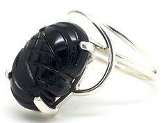 Unusual 925 Sterling Silver & Black Onyx Boho Ring Sizes N, Q (UK Seller)