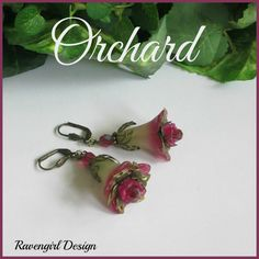 ORCHARD Lucite Trumpet Flower Dangle Earrings ~ Green Pink ~ Czech Crystals ~ Boho Vintage Style Handmade Jewelry by Ravengirl Design