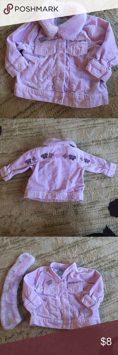 Baby Guess Jacket - Purple - 6/9 months This cute jacket is purple with a removable faux fur collar. The front and back have embroidered butterfly details. The front is snap closures. baby guess Jackets & Coats