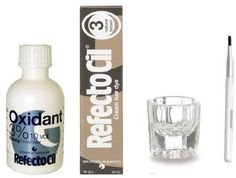 REFECTOCIL COLOR KIT - Natural Brown Cream Hair Dye   Liquid Oxidant 3% 1.7oz   Mixing Brush   Mixing Dish ** You can find more details at