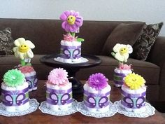 Butterfly Flower Diaper cake Baby Shower Centerpieces mini and bundt sizes available on Etsy, $9.99 Diy Diaper Cake, Mini Diaper Cakes, Baby Shower Brunch, Baby Shower Table, Baby Showers, Baby Shower Crafts, Baby Shower Themes, Shower Ideas, Baby Cupcake