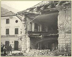 Zerstörtes Kötschach-Mauthen nach Bomben - und Granatangriffen der italienischen Armee.