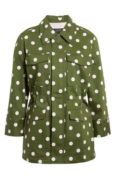 Plus Size Women's Halogen X Atlantic-Pacific Polka Dot Utility Jacket, Size - Green Atlantic Pacific, Song Of Style, Summer Essentials, Green Jacket, Summer Trends, White Denim, Utility Jacket, Online Shopping Clothes, My Wardrobe