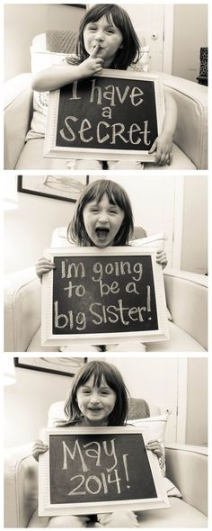 Big sister baby announcement. What an adorable idea for a sister-to-be :)