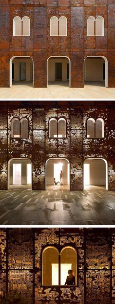 The rebirth of the Campiello, Venice. Corten steel facade created by art historian Philippe Daverio and artist Giorgio Milani