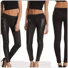 """NEW IN PACKAGE BLACK MIXED MEDIUM LEGGINGS New in package black leggings in a soft stretch fabric with chap style faux leather inserts. The leggings have elastic waist, 2 faux back pockets trimmed in pleather, two front faux pockets with gold zippers. These leggings actually fit well & are a bit long for me. Im 5'5"""" & they are about 2"""" too long. The waist fits me loosely at 29"""" and has 2"""" stretch easily. The hips are 38"""" with 1.5"""" comfortable stretch. Other than the length, these leggings…"""