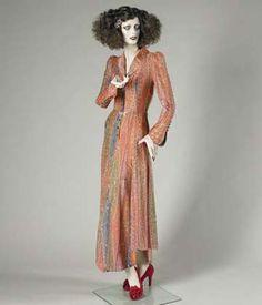 Evening dress, cellulose acetate, nylon and lurex, Bill Gibb, 1973