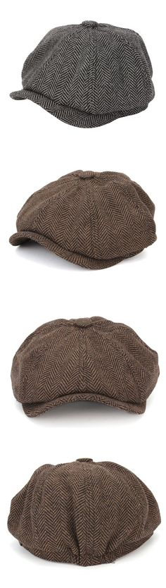 Men Visor Woolen Blending Newsboy Beret Cap Outdoor Casual Winter Cabbie Hat