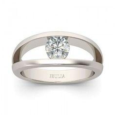 Spilt Shank Tension Created White Sapphire Rhodium Plating Sterling Silver Women's Ring
