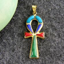 Gold Ankh key pendant With multi colored stones (jewelry gifts)
