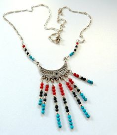 Tribal Pendant Necklace with Turquoise Coral Onyx Gemstone Sterling Silver Chandelier Handmade Red Blue Black