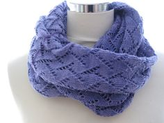 Infinity scarf machine knitted in lace pattern by Made4Umnn, $65.00