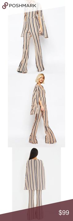 "❤️❤️ NWT STRIPED JUMPSUIT From the Pressed Boutique in Atlanta and this piece is also sold at Asos. On rack. NWT. Euro size 14 which is a 10. 100% polyester. 16"" bust 33"" inseam. 60"" length  **bundles save 10%** no trades/no modeling/no asking for lowest ASOS Pants Jumpsuits & Rompers"