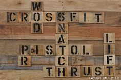 Crossfit Enthusiast Pallet Art Word Collage Sports Room Wall Decor Choose Lustre Fine Art Print or Gallery Wrapped Canvas