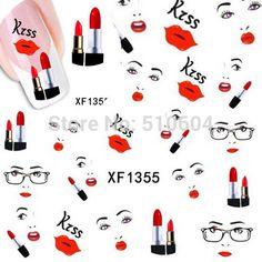1 folhas Sexy Lips beijo projeto Art Nail adesivos de transferência de água tatuagem decalques decoração DIY ferramentas unhas #XF1355 em Adesivos de Health & Beauty no AliExpress.com | Alibaba Group