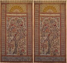 """A Pair of Antique Persian Isfahan Qalamkar Blocked Print & Painting in the Center with Persian Calligraphy at top Wall Hanging Carton.    Qajar Dynasty  1795 -1925 A.D Circa 1800     Size 116"""" x 61""""  Size 295 x 155cm"""