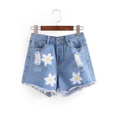 Ripped Flower Print Blue Denim Shorts (745 RUB) ❤ liked on Polyvore featuring shorts, distressed jean shorts, floral jean shorts, ripped shorts, destroyed shorts and ripped denim shorts