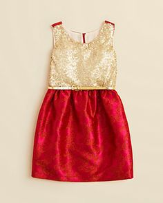 Blush by US Angels Girls' Sleeveless Sequin Brocade Dress For Chinese New Year??