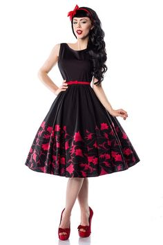 "Petticoat-Kleid ""Printed Sleeveless"" rot / Rockabilly-Rumble dress design by Amber Middaugh"