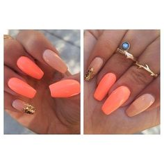 Love the shape of these nails and the combination of orange and cream always gets me. #yummy