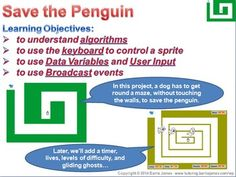 Project I: Save the Penguin. A maze type project that adds multiple levels of complexity. Move a sprite through the maze, setting time and lives variables, and trying to avoid the ghosts...