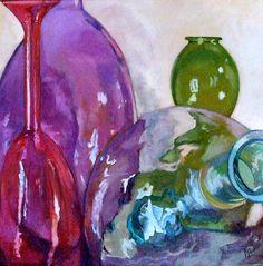 Painting of colored glass bottles Karen Goldberg