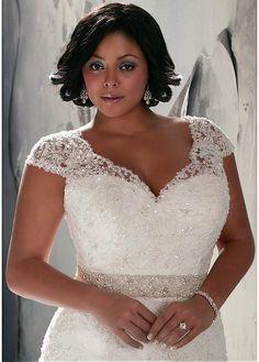comprar Impresionante tul y satén con cuello en V cintura natural del A-line del vestido de boda del tamaño extra grande de descuento en Dressilyme.com