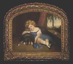 ENCHANTING FOLK ART PAINTING, ANGELIC PORTRAYAL OF CHILD WITH DOG, ORIG. 19TH #FolkArt