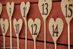 15 Wedding Table Number Rustic Wedding Decor