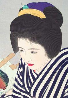 """sumi-no-neko: """"志村立美, 1907-1980 (Shimura Tatsumi) Detail of """"Late Summer"""" print, 1953 """" Shimura Tatsumi (1907-1980) 志村立美 Late Summer 夏たけて、1953 (detail)"""