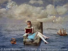 My Bookworm © Anne BARRES (PhotoArtist. German) aka Q-Rai via DeviantArt. Digital Art / Photomanipulation / Surreal. Young woman reading a book on an easy chair in the middle of the ocean. with a teapot & sailling ship nearby. [Do not remove this caption. The LAW requires the copyright holder be credited.] COPYRIGHT LAW REQUIREMENTS: http://pinterest.com/pin/86975836525792650/  HOW TO FIND the ORIGINAL WEB SITE of an image: http://pinterest.com/pin/86975836525507659/