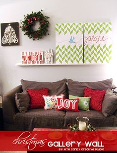 custom art for a Christmas Gallery Wall with @royalstencils  @eyecandycreate #gallerywall #christmasart #handlettering