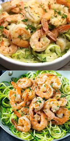 Zoodles And Shrimp Recipe, Shrimp Scampi Zoodles, Low Carb Shrimp Recipes, Keto Recipes, Healthy Recipes, Tasty Meals, Fodmap Recipes, Keto Foods, Ketogenic Recipes